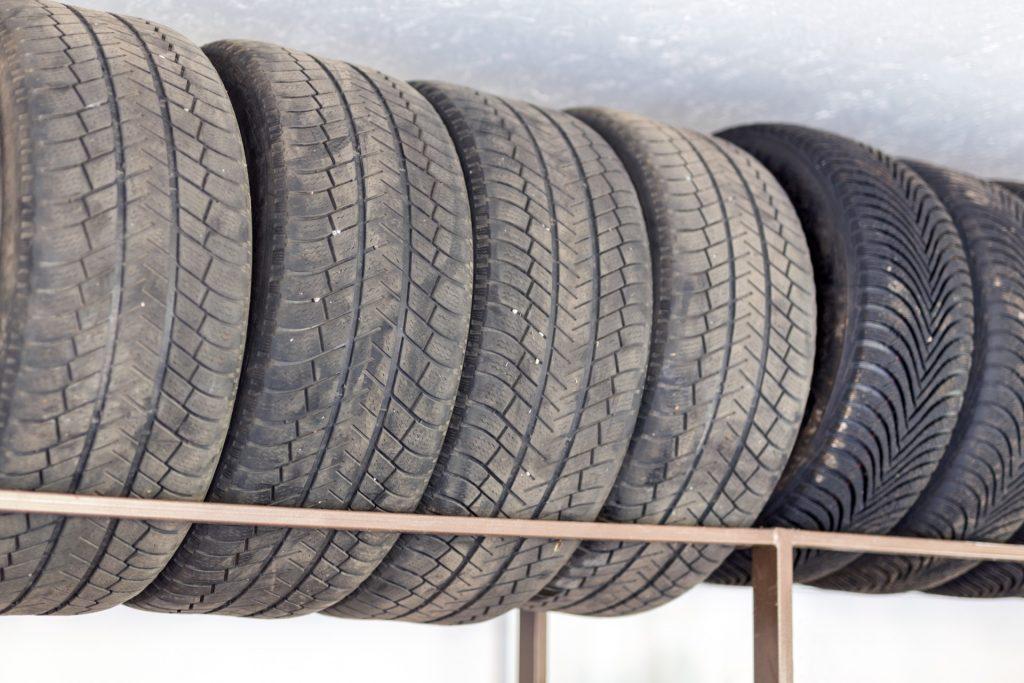 Storing tires mounted on rims in garage