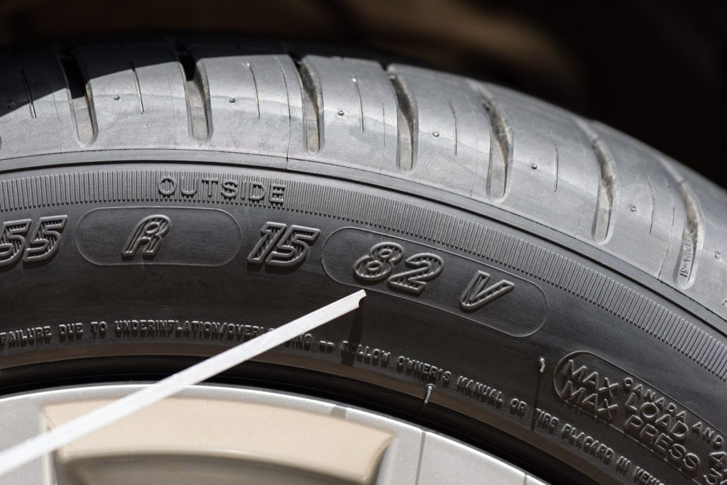 Tire sidewall showing the tire speed rating