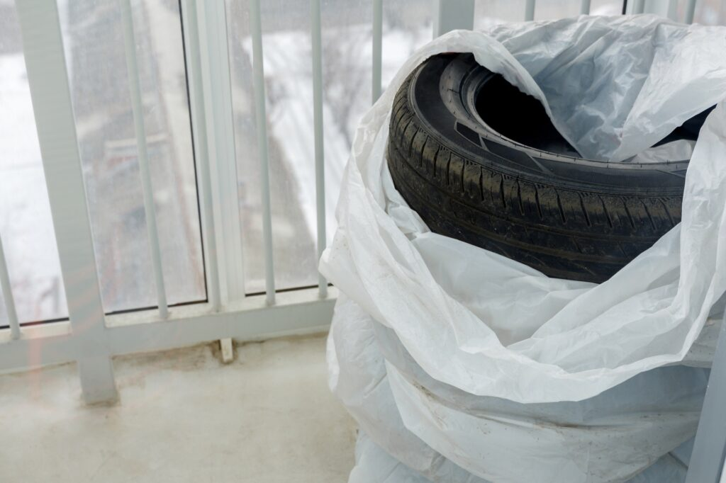 Winter tires being stored indoors